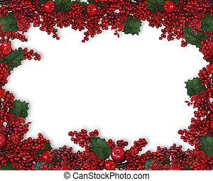 weihnachten, holly beeren, umrandungen