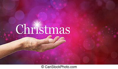weihnachten, in, der, handfläche, von, dein, hand