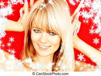 weihnachten, kaninchen, aus, rotes