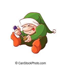 weihnachten, karikatur, weihnachtshelfer, zwerg, oder