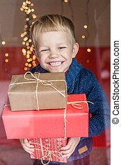 weihnachten., kid., gift., geschenk