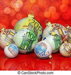weihnachten, kugeln, mit, geld, beschaffenheit