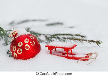 weihnachten, kugeln, mit, schnee