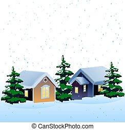 h tte winter schneelandschaft weihnachten winter zeichnung suche clipart illustrationen. Black Bedroom Furniture Sets. Home Design Ideas