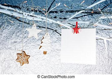 weihnachten, lebkuchen- plätzchen, mit, leerer , grüßen karte, hängen, bloße niederlassungen