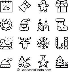Begriffe Weihnachten.Haus Chimney Weihnachten Vektor Schlanke Qualmende Linie