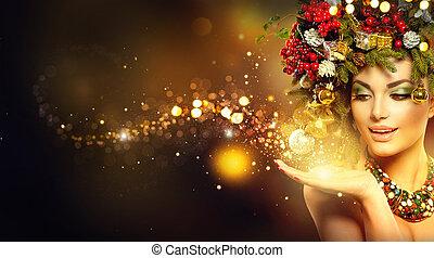 weihnachten, magic., schoenheit, mannequin, aus, feiertag, unscharfer hintergrund