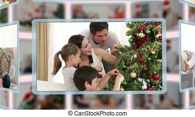 weihnachten, montage, da, familien