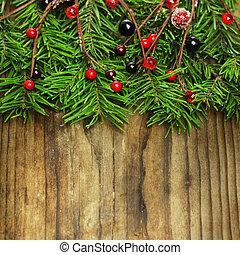 weihnachten neues jahr, dekoration, auf, hölzern, hintergrund., feiertag, umrandungen, design, zusammensetzung