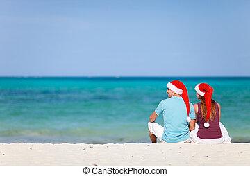 weihnachten, paar, sandstrand, junger, urlaub