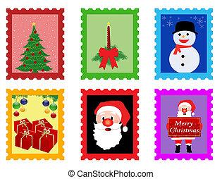 weihnachten, pfahl, briefmarken