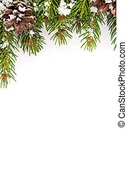 weihnachten, rahmen, mit, schnee, und, kegel