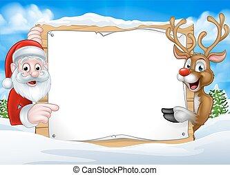 weihnachten, rentier, hintergrund, santa, zeichen