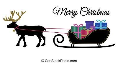 weihnachten, rentier, mit, kragen, und, haufen , von, geschenk, kästen, auf, santa sleigh, schwarz, silhoutte, farbe, geschenk, kasten, wohnung, design, vektor, für, frohe weihnacht