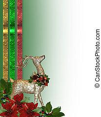 weihnachten, rentier, umrandungen