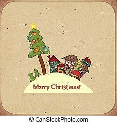 weihnachten, retro, karte, mit, häusser, und, text, fröhlich, christmas!