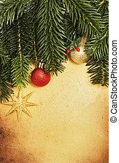 weihnachten, retro, karte, mit, umrandungen, und, dekoration