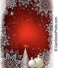 weihnachten, rotes , design, mit, kugeln, schneeflocken, und, a, weihnachtsbaum