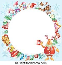 weihnachten, runder , rahmen