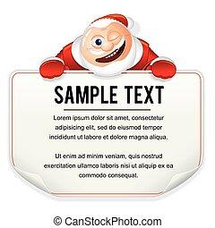 weihnachten, santa, zeichen., vektor