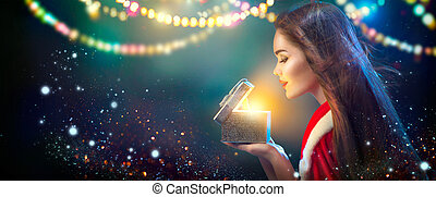 weihnachten, scene., schoenheit, brünett, junge frau, in, party, kostüm, eröffnen geschenk, kasten, aus, feiertag, unscharfer hintergrund