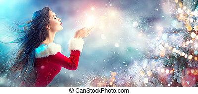 weihnachten, scene., sexy, santa., brünett, junge frau, in, party, kostüm, blasen, schnee, aus, feiertag, unscharfer hintergrund