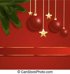 weihnachten, schöne , roter bogen, mit, geschenkband, vektor, eps, 10