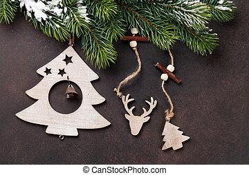 weihnachten, schnee, tanne, und, dekor