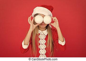 weihnachten, schneebälle, decorations., jahr, halten, genießen, santa, kind, festlicher, m�dchen, fun., wenig, jahreszeit, glücklich, partei., party, glasses., feiertag, weihnachten, spy., feiern, neu , vorabend