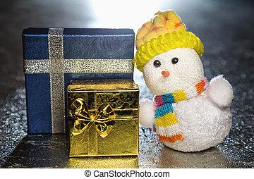 weihnachten, schneemann, spielzeug, mit, geschenk boxt, oder, geschenke