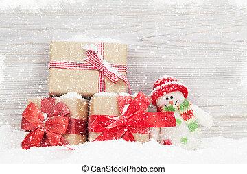 weihnachten, schneemann, spielzeug, und, geschenk boxt