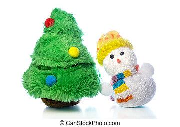 weihnachten, schneemann, spielzeug, und, tanne