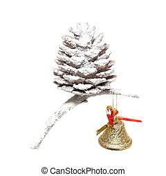 weihnachten, schneien kegel, mit, wenig, glocke