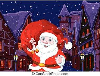 weihnachten, stadt, santa