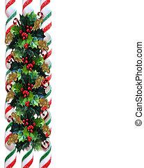 weihnachten, stechpalme, umrandungen, mit, geschenkband, zuckerl