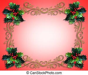 weihnachten, stechpalme, umrandungen