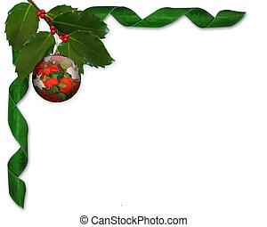 weihnachten, stechpalme, und, bänder, umrandungen