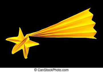 Sternschnuppe. Stern, sternenhimmel, nacht, schießen, über ...