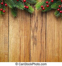 weihnachten, tanne, auf, holzbrett