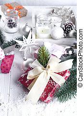 weihnachten, tanne, dekor, geschenkschachtel, und, fausthandschuhe