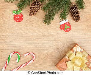 weihnachten, tanne, dekor, und, geschenkschachtel