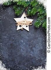 weihnachten, tanne, und, dekor, aus, stein, hintergrund