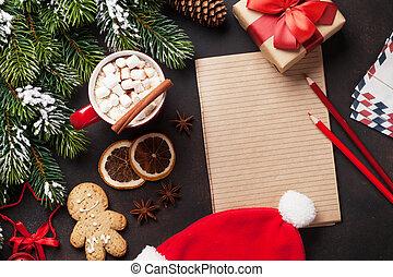 weihnachten, tanne, und, heiße schokolade, mit, eibisch