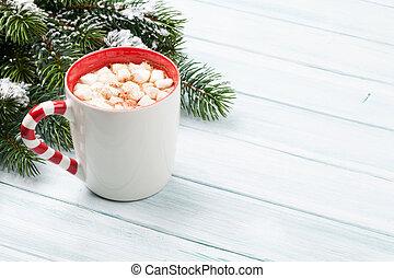 weihnachten, tanne, und, heiße schokolade
