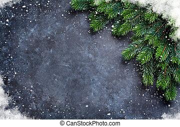 weihnachten, tanne, und, schnee
