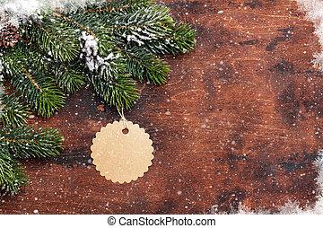 weihnachten, tanne, zweig, bedeckt, per, schnee, auf, holz