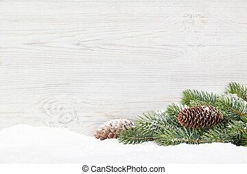 weihnachten, tanne, zweig, bedeckt, per, schnee