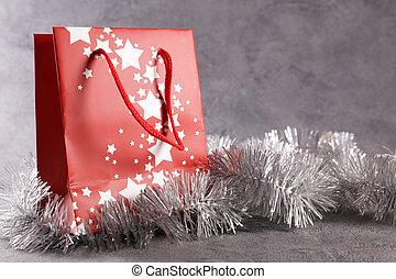 weihnachten, tasche, dekoration, shoppen