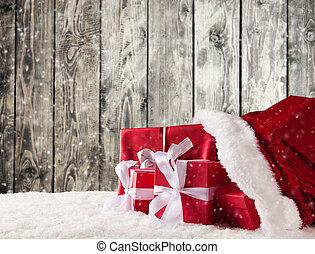 weihnachten, tasche, mit, geschenke