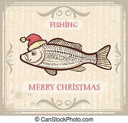 weihnachten, text, fische, zeichnung, fischerei, santa,...